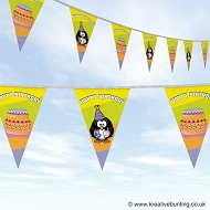 Happy Birthday Bunting - Penguin and Cake Design