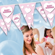 Baby Girl - Baby shower Bunting - Plaid Design 4