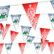 Christmas Bunting - Snowflake Christmas Tree and Snowman 2