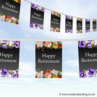 Happy retirement flower design bunting