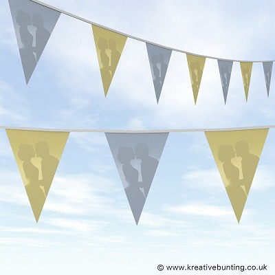 Wedding Day Bunting - Cream and Blue Plain
